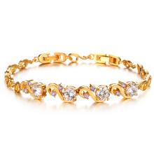 Bracelets et bracelets en cristal de diamant en zircon cubique en or 18 carats