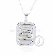 Biwa Fresh Water Pearl Gemstone Long Chain Necklace para mulheres no atacado