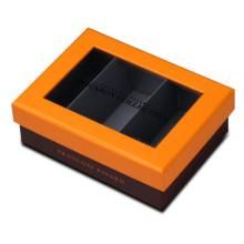 Matte gelbe Makronen Box mit PET-Fenster