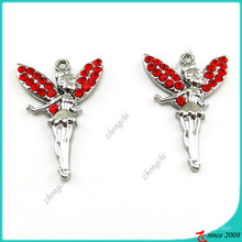 Red Crystal Silver Angel Charms para joyería DIY (MPE)