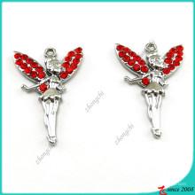 Красный Кристалл серебра Ангел подвески для ювелирных изделий DIY (ПДВ)