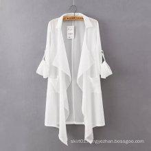 OEM Hot Sale Fashion White Chiffon Women Jacket