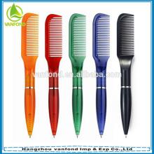 Peine de plástico promocional novedad barato pluma para tiendas y peluquería utilizado