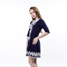 Latest Lace Neck Half Sleeves Empire Waist Blue Dresses