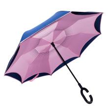 Pongee Fabric Rainproof magicbrella c-shaped handle paraguas plegable inverso