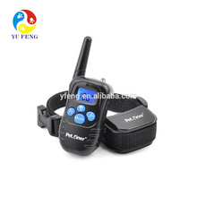 Venta caliente botón azul a prueba de agua recargable remoto vibración eléctrica vibración perro mascota collar de entrenamiento opción
