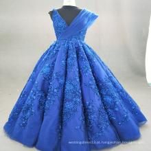 ED Bridal Hot Sale Beautiful Crystal Lace Appliqued Sem Manga V Neck Personalizado Royal Blue Ball Gown Evening Dress 2017