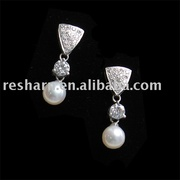Fashion Sterling Silver and Pearl Earrings