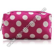 long style zipper around round dot eva cosmetic bag