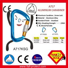 25KN Breaking Strength Taiwan Rock Aluminum Carabiner For Wild Sports