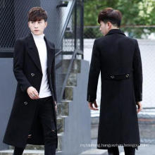 Double-Breasted MID-Length Over-The-Knee Woolen Jacket
