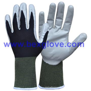 13 Gauge Nylon Soft Nitrile Coating Safety Gants