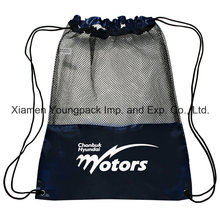 Promotional Custom Black Nylon Mesh Gym Sack Drawstring Shoe Bags