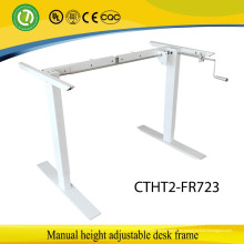 2 patas Siéntate para pararse Manual ergonómico de altura ajustable marco de escritorio de elevación de la mano