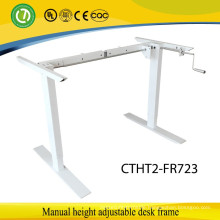 2 legs Sit to stand Manual ergonomic height adjustable hand lift desk frame