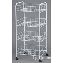 4 Tier rolling cart logam