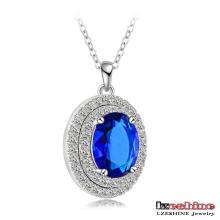 Collier pendentif en pierre orteille bleue (CNL0063)
