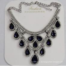 Lady Fashion Waterdrop Glas Kristall Anhänger Halskette Modeschmuck (JE0214-blau)