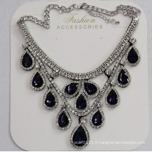 Lady Fashion Waterdrop verre cristal collier pendentif Costume bijoux (JE0214-bleu)