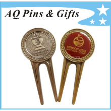 Enamel Golf Divot Tool with 3D Logo & Epoxy (Golf-22)