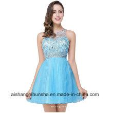 Vestidos de fiesta de tul azul corto rosa con cuentas sexy vestido de fiesta