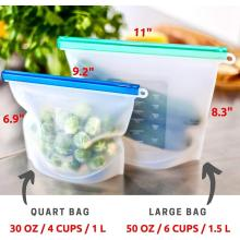 Eco-firendly silicone food bags with ziplock seal