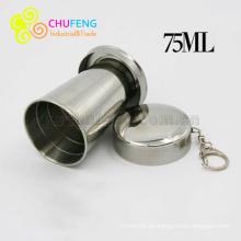 Taza plegable al aire libre plegable telescópica al por mayor del acero inoxidable 304 que dobla la taza