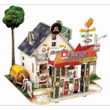 Juguete de los juguetes de la madera para las casas globales - gasolinera americana