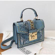 Wholesale Fashion Designer Lock Snakeskin PU Leather Ladies Hand Bag Shoulder Crossbody Women Custom Purses and Handbags