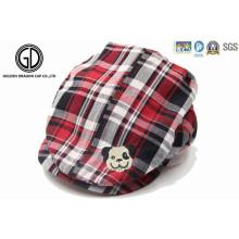 Padrão verificado Kids Baby Gatsby Hat, IVY Cap com bordado