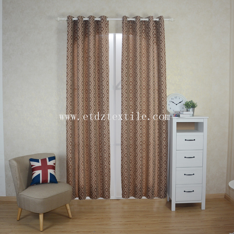 6016 Chocolate 2015 Top Sell Linen Touching 100% Polyester Curtain Fabric