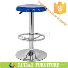 Синий акриловый современный круговой бар с высоким барным стулом