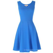 Kate Kasin Mujeres elegante y delgado ajuste informal sin mangas U-cuello azul vestido KK000487-4
