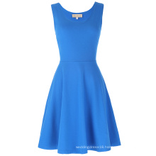 Kate Kasin Women's Stylish & Slim Fit Casual Sleeveless U-Neck Tank Blue Dress KK000487-4