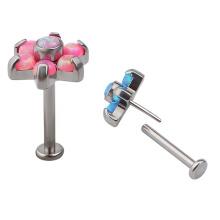 ASTM F136 Titanium 18G Press Fit Threadless Labret Stud Lip Piercing Opal BodyJewelry