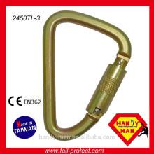 Taiwan Stahl D Typ Gerüst Sicherheit Haken / Karabiner Triple Lock