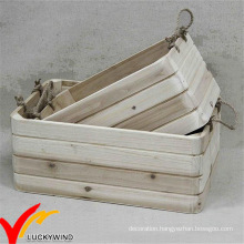Rope Handle Stackable Handmade Vintage Wood Planter Box
