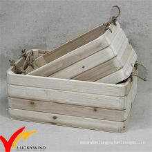 Rope Handle Stackable Handmade Vintage Wood Planter Box
