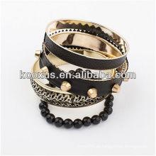 Pulseras de aleación pulsera de cuero brazalete brazaletes pulsera encantos