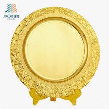 El logotipo 25cm del OEM modifica para requisitos particulares la placa de metal del regalo del oro con el tenedor para el recuerdo