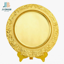 OEM Logo 25cm Customize Gold Gift Metal Plate with Holder for Souvenir