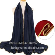 La moda más vendida 15 colores impresos mantón chal musulmán bufanda mujeres cabeza algodón gliter algodón piedra hijab