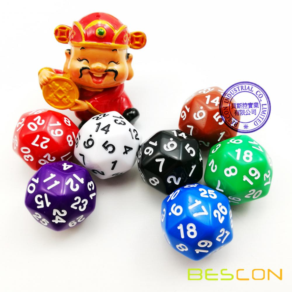 Mixed Colored Opaque Polyhedral Dice 30-sides, D30 Die Gaming Dice, D30 dice, 30 Sides Dice