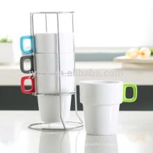 Ensemble de tasse à café en céramique empilable 280CC avec revêtement en caoutchouc