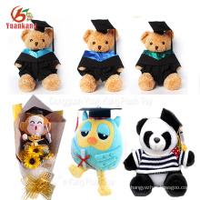Benutzerdefinierte Abschluss Kuscheltiere Panda Bouquet Owl Puppe Teddybär Plüschtier