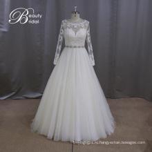Трапеция Свадебные платья с длинным рукавом из бисера Sash свадебное платье
