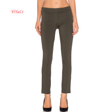 Rayon linha reta frente única cintura calças de trabalho de design