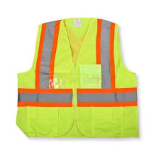 Zipper Front Polyester Lime Green Safety Vest