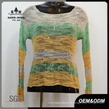 Vêtements larges tricotés à rayures pour femmes