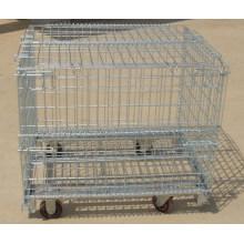 Jaula de almacenamiento de alambre plegable con ruedas